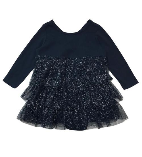 Navy Glitter Tiered-Ruffle Dress