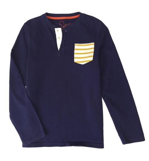 Navy Yellow Stripe Pocket Shirt, Big Boys