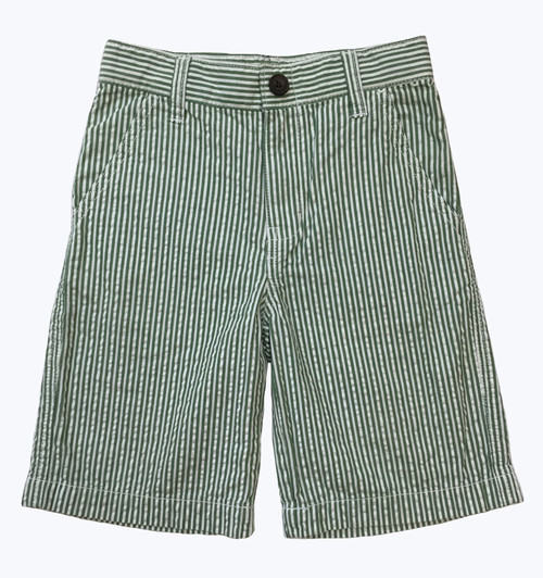 Boy Green and White Stripe Seersucker Shorts