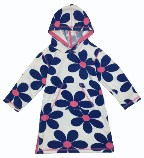 Little Girl Hooded Flower Towelling Beach Dress