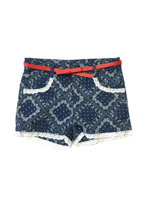 Girl Paisley Chambray Lace Shorts