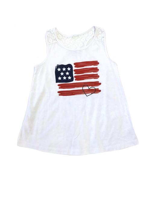 Girl White Patriotic Lace Sleeveless Tank Top