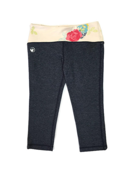 Floral Denim Print 3/4 Leggings, Girls