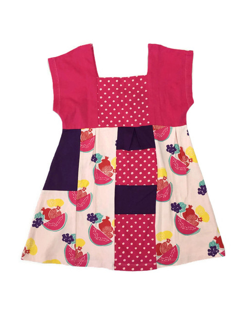 Organic Fruity Colorblock Dress, Toddler Girl