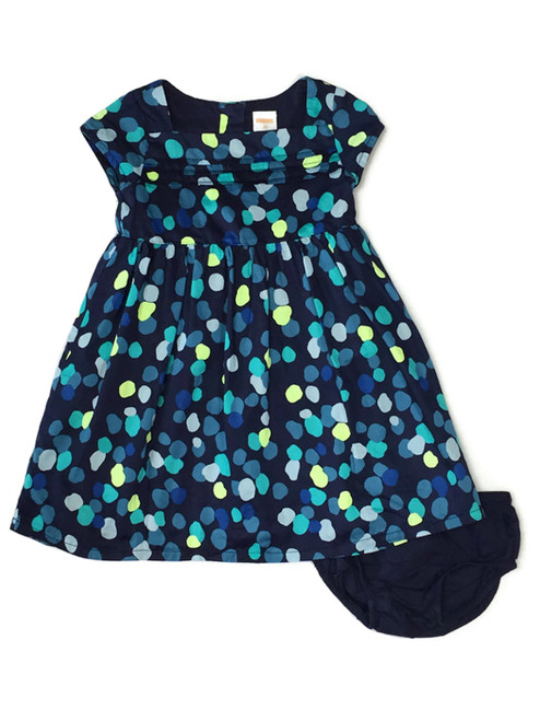 Navy Blue Polka Dot Dress, Toddler Girls