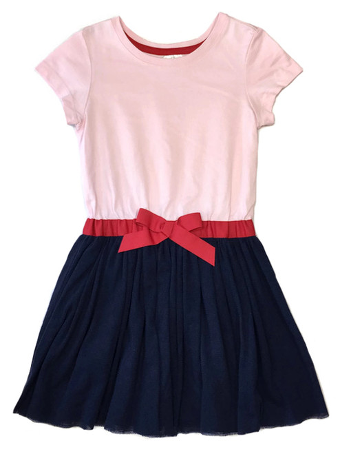 Light Pink/Navy Whoosh Dress, Little Girls