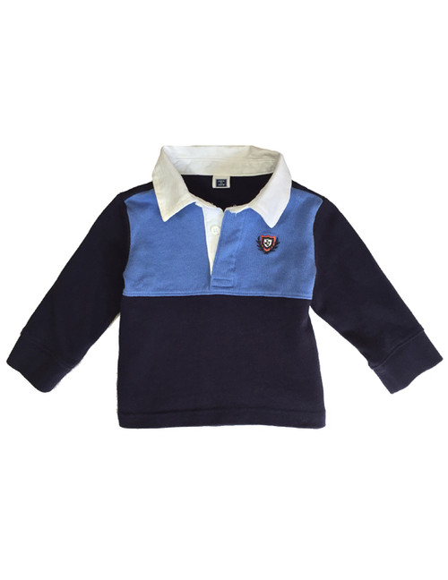 Navy Blue Rugby Polo Shirt, Baby Boys