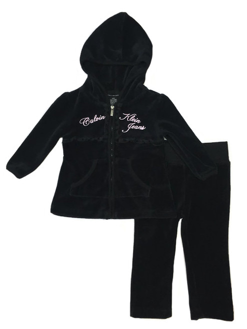 Black Velour Track Suit Set, Baby Girls