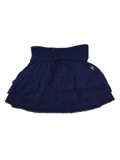 Navy Tiered Ruffle Skirt with Belt, Big Girls