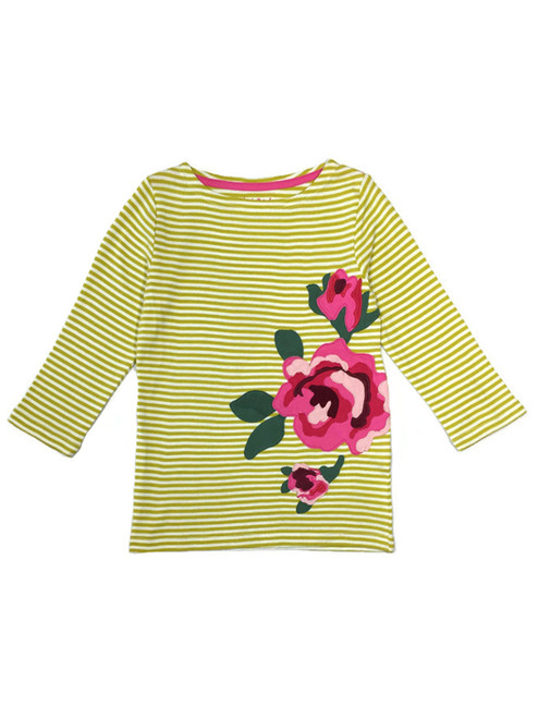 Olive Green Rose Appliqué Tee, Little Girls