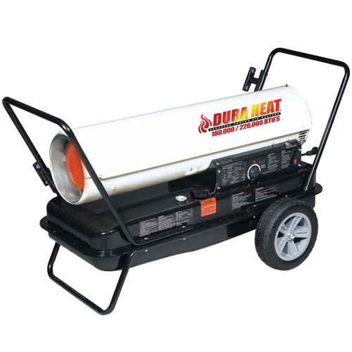 Dura Heat DFA220CV 220,000-180,000 BTU Kero Forced Air Heater with Dual Heat Control, Wheels, Handles and Pressure Gauge Included