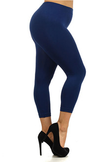 Basic Capri Length Seamless Leggings - Plus Size