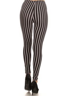 Vertical Black on White Stripes Leggings