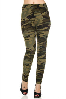 Extra Plus Size Green Camouflage Leggings - 3X-5X