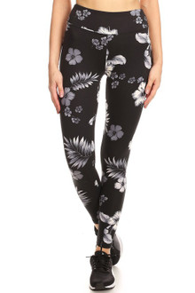 Brushed High Waisted Floral Tropics Sport Leggings
