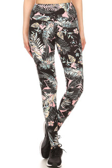 Brushed High Waisted Pink Frond Sport Leggings