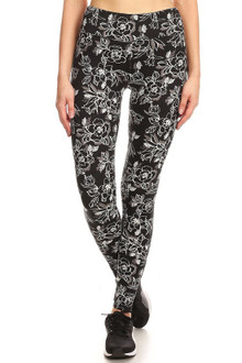Brushed High Waisted Etched Rose Sport Leggings