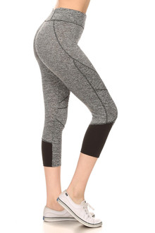 Wholesale Women's Serrated Panel Workout Capris