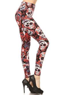 Red Sugar Skull Plus Size Leggings - 3X-5X