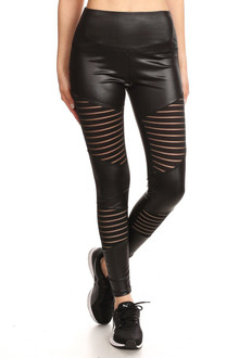 Premium Serrated Mesh Panel Sport Leggings