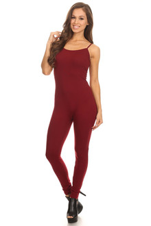 Burgundy Spaghetti Strap Cotton Tank Jumpsuit
