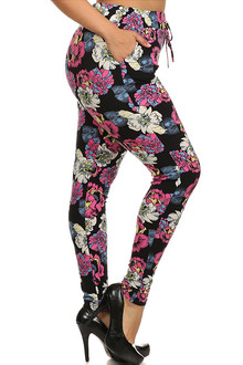 Pop Art Peony Harem Leggings - Plus Size