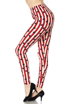Vertical Stripes USA Flag Leggings
