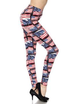 3D Hologram USA Flag Plus Size Leggings