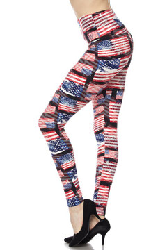 High Waisted 3D Hologram USA Flag Leggings