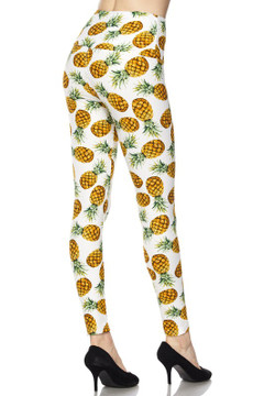 High Waisted Ivory Pineapple Plus Size Leggings