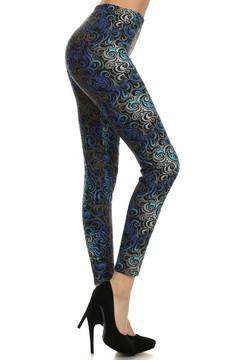 Blue Tangled Swirl Leggings