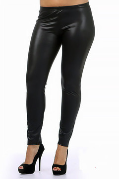 Plus Size Matte Faux Leather Leggings