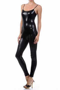 Shiny Liquid Sleeveless Jumpsuit - Side Profile