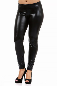 Shiny Faux Leather Leggings - Plus Size