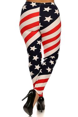 Twisted USA Flag Leggings - Plus Size