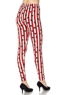 Vertical Stripes USA Flag Plus Size Leggings