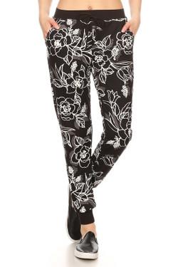 Black Etched Floral Joggers