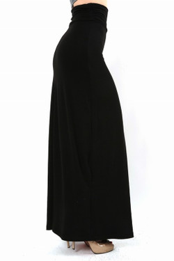 Premium Side Shirring Black Maxi Skirt