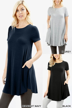 Premium Round Neck Round Hem Short Sleeves Tunic with Pockets