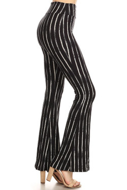 Buttery Soft Black Rustic Pinstripe Bell Bottom Leggings