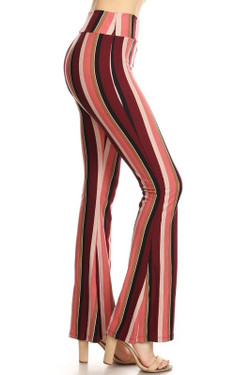 Buttery Soft Retro Burgundy Stripe Bell Bottom Leggings