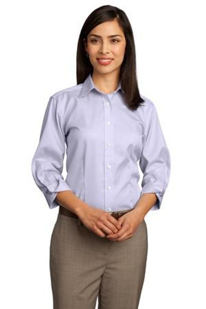 Ladies 3/4-Sleeve Dobby Non-Iron Button-Down Shirt