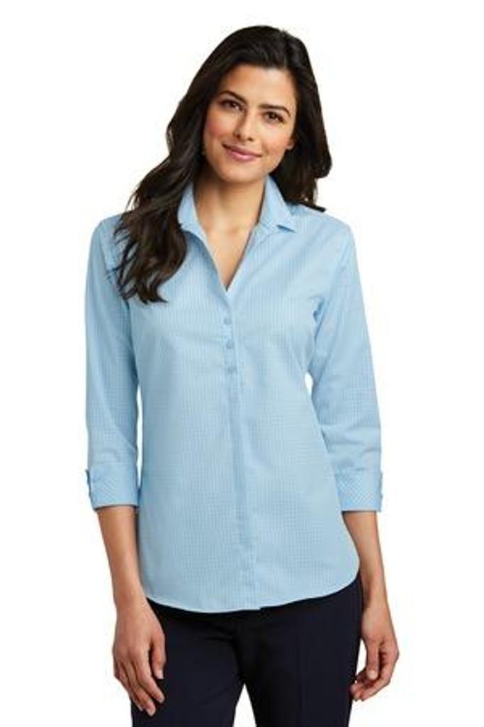 Ladies 3/4-Sleeve Micro Tattersall Easy Care Shirt