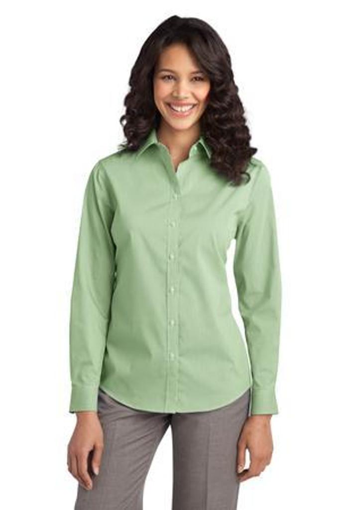 Ladies Fine Stripe Stretch Poplin Shirt