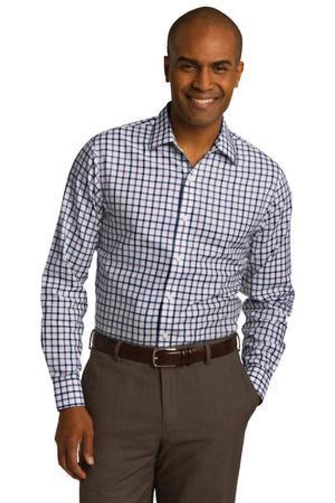 Tricolor Check Slim Fit Non-Iron Shirt