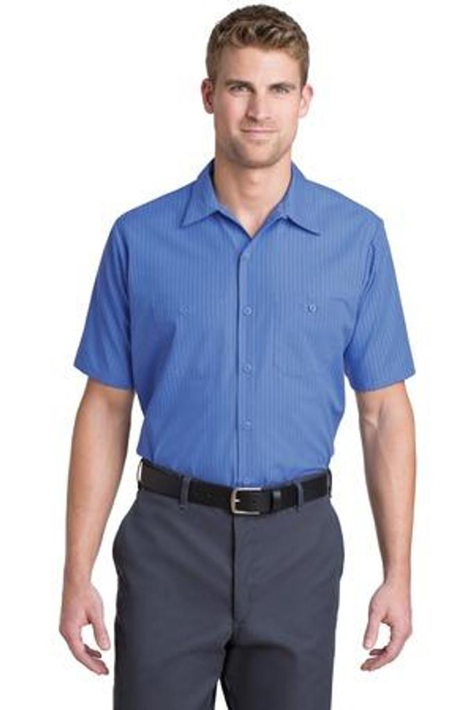 Short Sleeve Striped Industrial Work Shirt