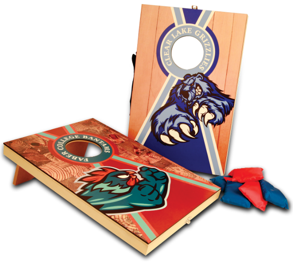 Full Color Wooden Mini Bag Toss Game with 8 Bags