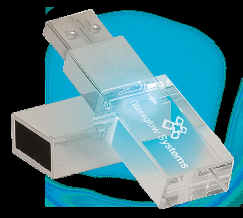 GB Glass USB Flash Drive with White LED & Black Box
