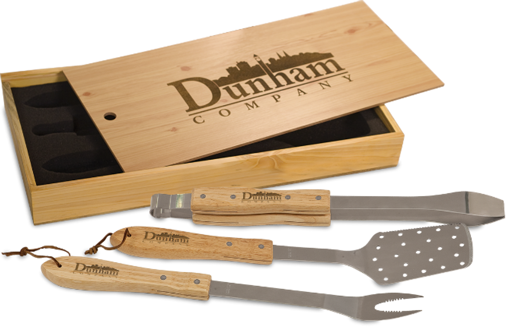 BBQ Gift Set in Pine Box with Stainless Steel & Oak Tools