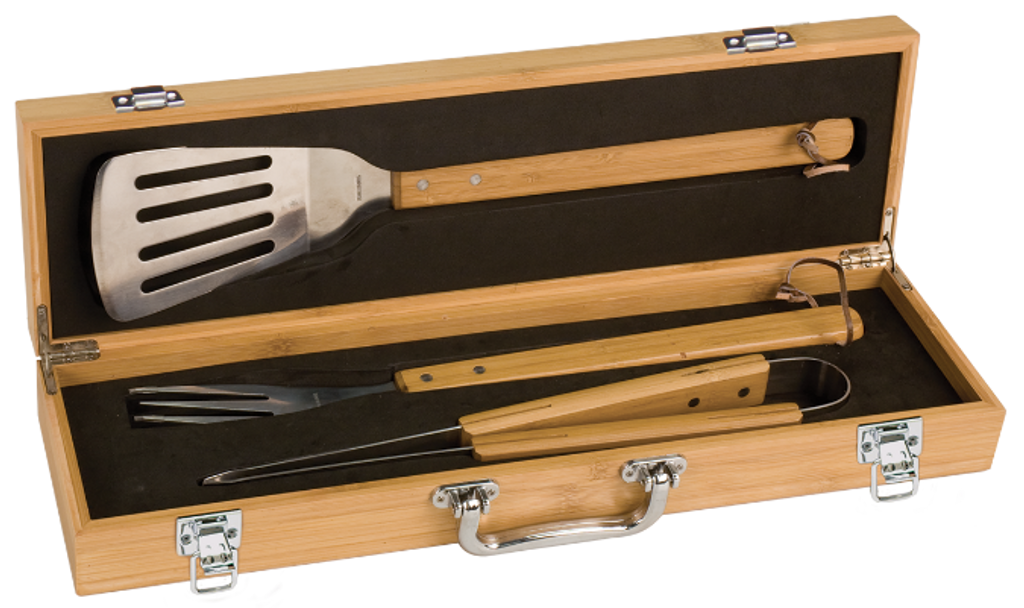Genuine Bamboo BBQ Set with Stainless Steel & Bamboo Tools